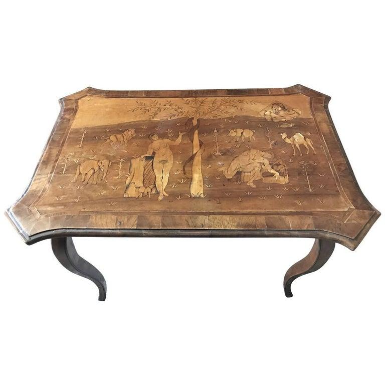 18th Century Adam and Eve Inlayed Walnut Table, German
