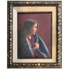 Native American Antique Porcelain Plaque of Woman