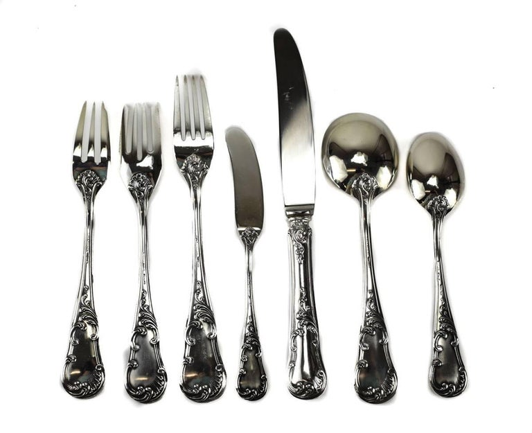 570978aed1d5b Italian Seven-Piece Sterling Silver Flatware Service for 12 in Quirinale by  Buccellati For Sale