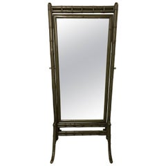 1960s Green Bamboo Cheval Mirror