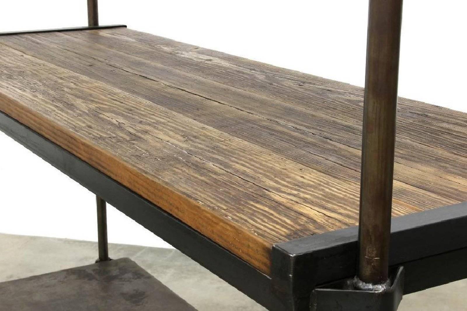 Exceptionnel Industrial Iron Reclaimed Wood Triple Shelving Loft Open Closet