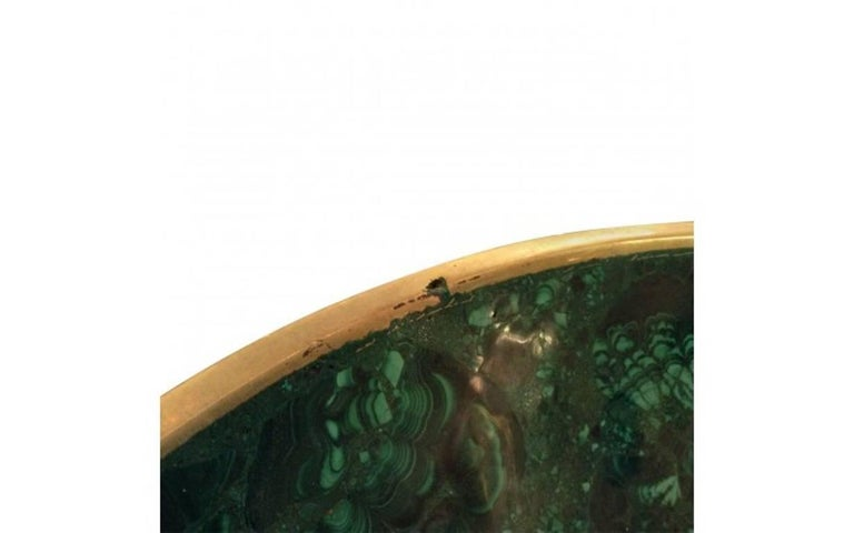 Unknown Tessellated Large Malachite and Bronze Bowl For Sale
