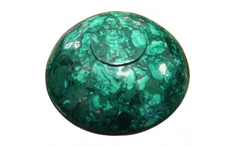 Tessellated Large Malachite and Bronze Bowl In Excellent Condition For Sale In Pasadena, CA