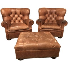 Ralph Lauren Home Pair of Leather Writer's Chairs and Ottoman