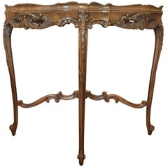 Rococo Style Inlaid Walnut Side Table