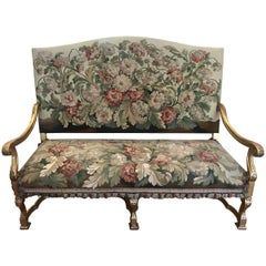 19th Century Regence Style Giltwood and Tapestry Settee
