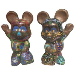 Mickey and Minnie Cloisonné Enamel Figures