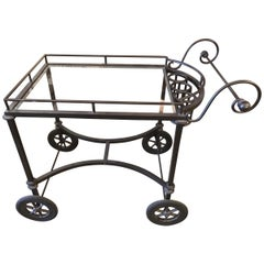 Rustic Wrought Iron and Glass Outdoor Bar Cart