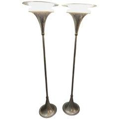 American Art Midcentury Moderne Chrome Floor Lamp Torchères