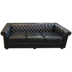 Leather Chesterfield Three-Seat Sofa