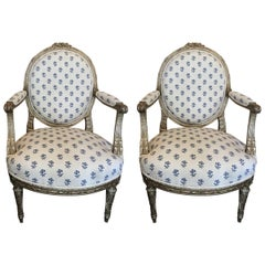 Pair of 19th Century French Louis XVI Style Giltwood Fauteuil