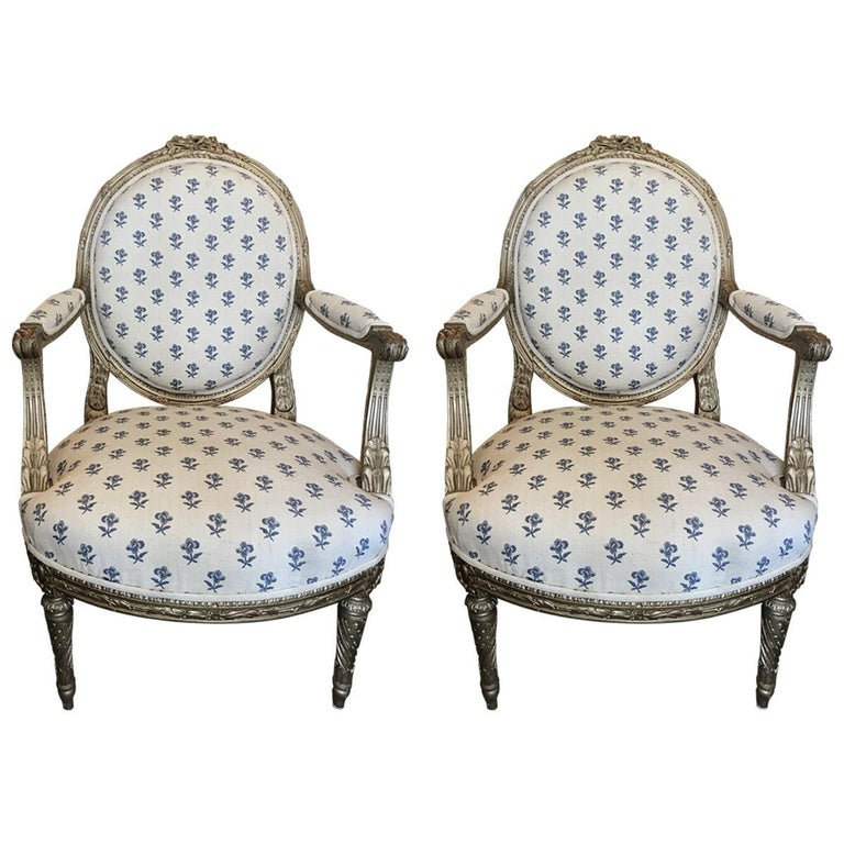 Pair of 19th Century French Louis XVI Style Giltwood Fauteuil For ...