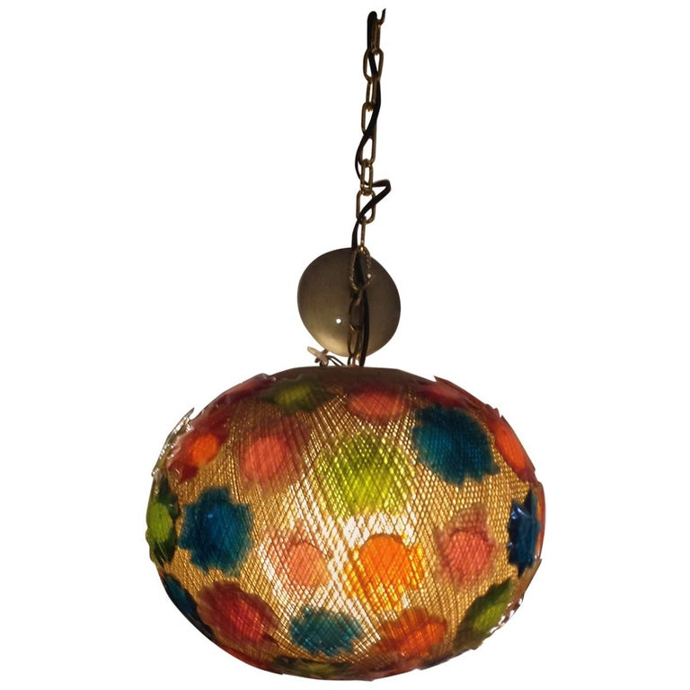 Mid-Century Modern Acrylic Globe Hanging Light