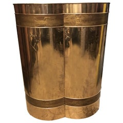 Mastercraft 1970s Acid Etched Brass Trifoliate Table Base