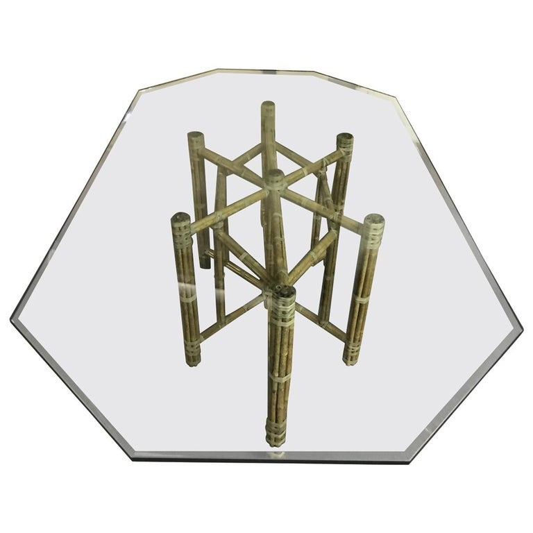 American McGuire Mid-Century Modern Glass Top Dining Table For Sale