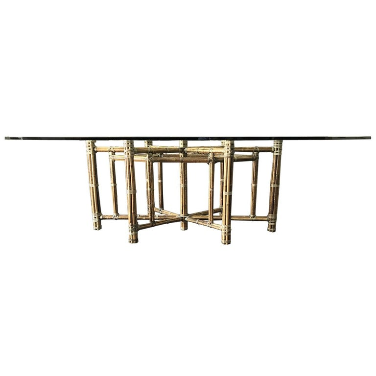 McGuire bamboo glass top dining table.  Measures: Width 96