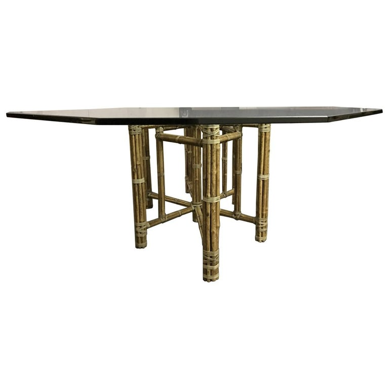 McGuire MidCentury Modern Glass Top Dining Table For Sale At Stdibs - Glass top mid century dining table
