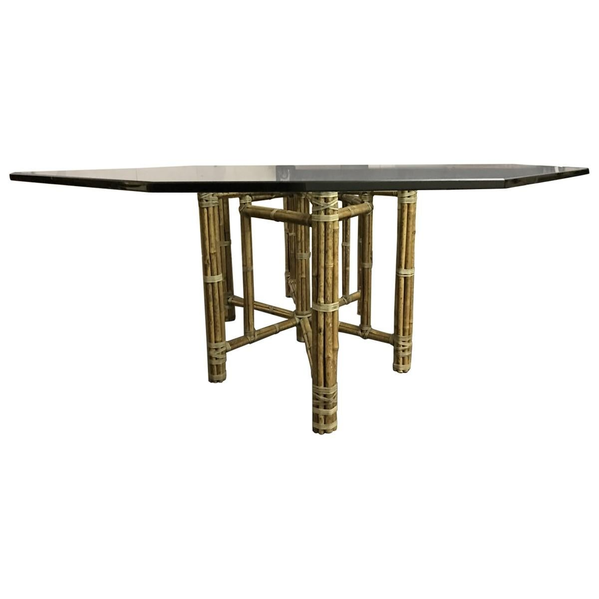 McGuire Mid Century Modern Glass Top Dining Table