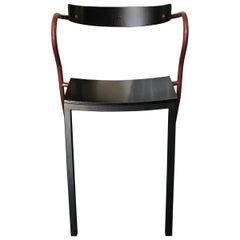 1980s Italian Memphis Style Ebonized Armchair