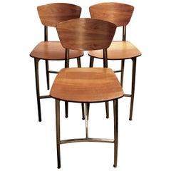 Set of Three Italian Mid-Century Modern Plywood and Steel Bar Stools