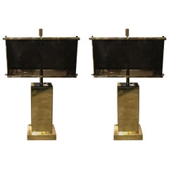 Charles Hollis Jones Modern Pair of 1970s Edison Brass and Acrylic Table Lamps