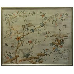 Large Framed Modern Midcentury Chinoiserie Wallpaper Panel by Gracie