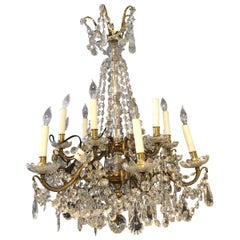 19th Century Baccarat 2-Light Crystal and Bronze Chandelier