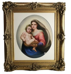 Large KPM Porcelain Plaque Madonna and Child after Rafael, circa 1890