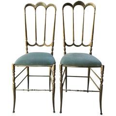Italian Chiavari Style Brass Chairs