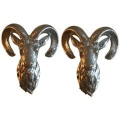 Silvered Wood Ram Heads