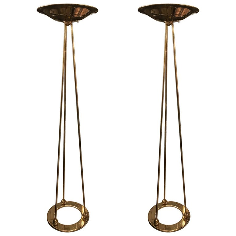 Pair of Modern Casella ''Olympiad'' Polished Brass Floor Lamps