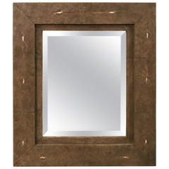 Modern Contemporary R&Y Augousti ''Taupe Shagreen'' Ray Skin Mirror