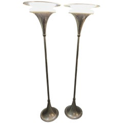 Pair of American Art Moderne Chrome Torchères