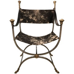 Italian Maison Jansen Style Steel and Cowhide Dante Chair
