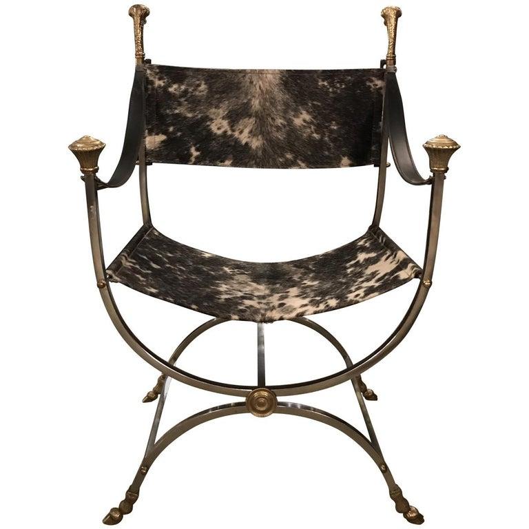 Italian Maison Jansen Style Steel and Cowhide Dante Chair