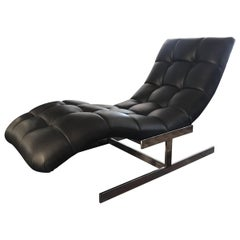 Mid-Century Modern Leather Wave Chaise by Milo Baughman