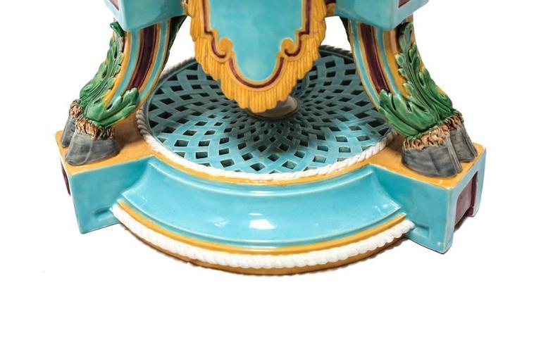 Late 19th Century 19th Century Minton Majolica Figural Pedestal Planter For Sale