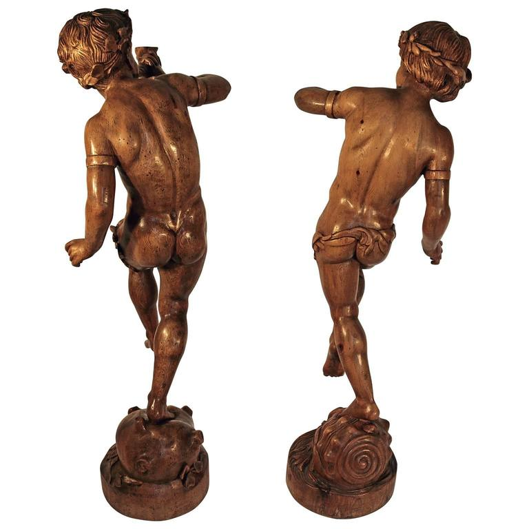 Hand-Carved Pair of 19th Century Italian Carved Wood Figure Sculptures For Sale