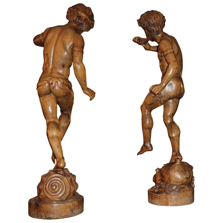 Pair of 19th Century Italian Carved Wood Figure Sculptures In Excellent Condition For Sale In Pasadena, CA