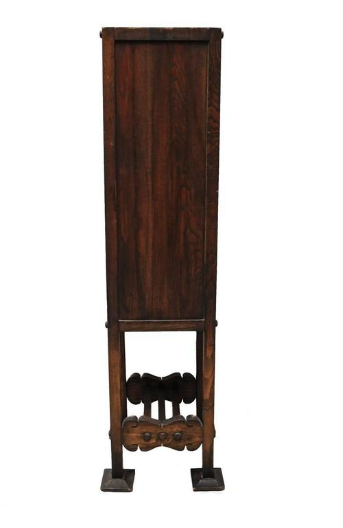 Charming American Arts & Crafts Narrow Cabinet with Slag Glass Panels For Sale 1