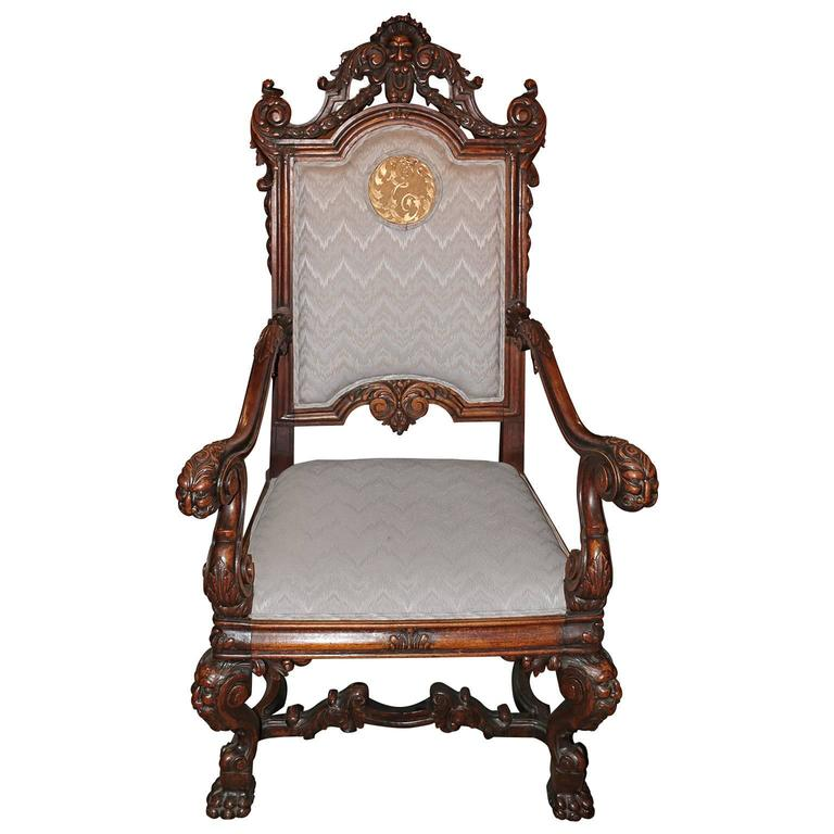 Spanish Hand Carved Kings Chair With 24 Karat Gold Plated Bronze Emblem For S