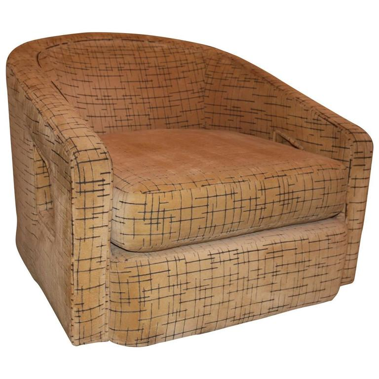 These Vintage Tub Chairs Are Upholstered In Versatile Beige Fabric With A  Faint Black Cross Hatch