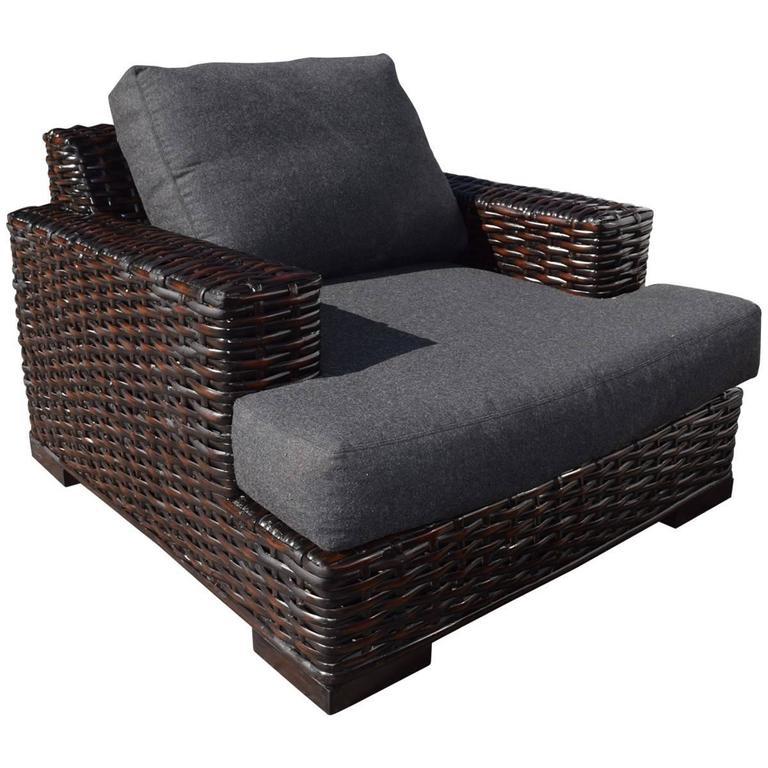 ralph lauren rattan and ebonized wood armchair with ottoman 3
