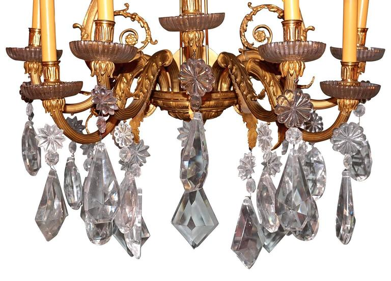 French Provincial Pair of 19th Century French Dore Bronze Cut Crustal Sconces For Sale