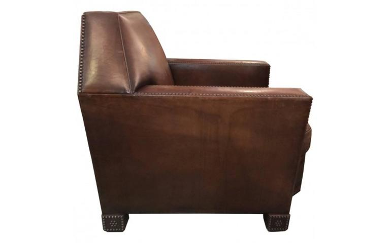Italian Art Deco Studded Leather Cigar Club Chair By Ralph Lauren For