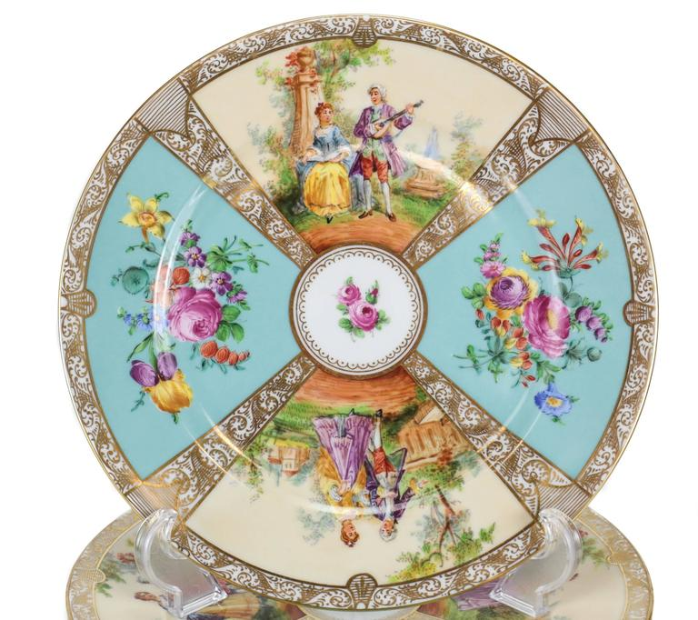 A beautiful and colorful set of 12 cabinet plates with a quatrefoil decoration of interchanging outdoor  sc 1 st  1stDibs & 12 Dresden Porcelain Hand-Painted Cabinet Plates by Ambrosius Lamm ...