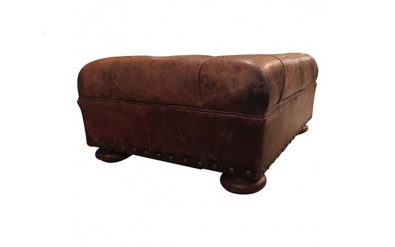 Distressed Wood Storage Ottoman ~ Ralph lauren tufted and distressed brown leather ottoman