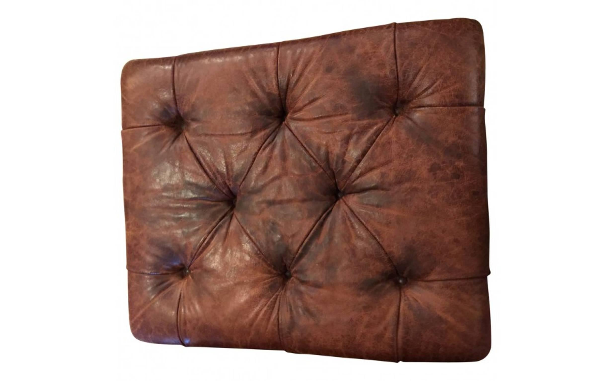 Miraculous Ralph Lauren Tufted And Distressed Brown Leather Ottoman At Caraccident5 Cool Chair Designs And Ideas Caraccident5Info