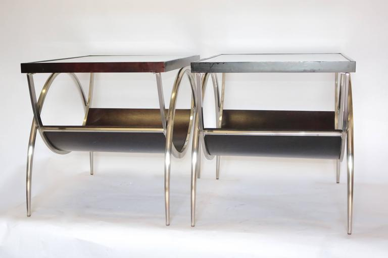 Chrome And Wood End Table ~ Pair of modern chrome and wood glass end tables at stdibs