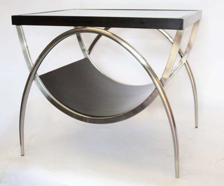 Pair of modern chrome and wood glass end tables at stdibs